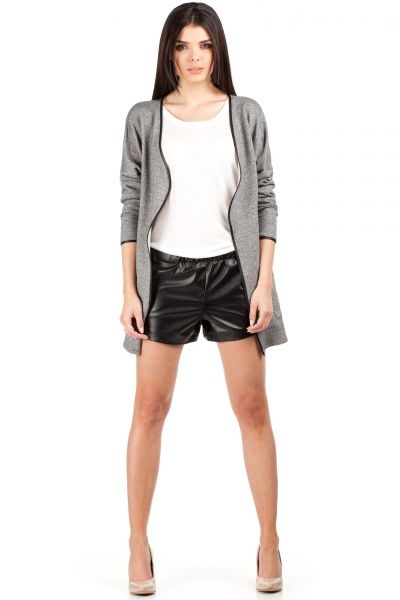Women Jackets & Outwear on discount - MOE076 Long sleeve collarless no closure jacket - graphite by MOE Fashion