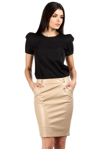 Leather pencil skirt beige – Fashionable skirts 2017 photo blog