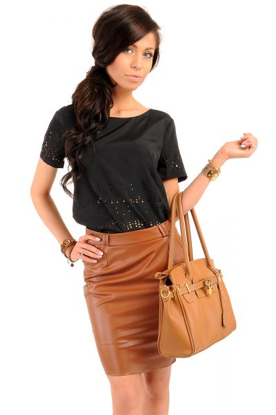 Women Skirts Discount MOE015 Essential Faux Leather Pencil