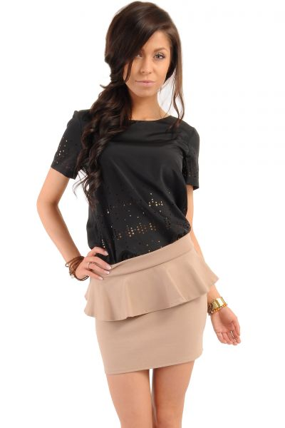 Women Skirts on discount - MOE016 Mini stretch knit peplum skirt golden zip bodycon fit - cappuccino by MOE Fashion