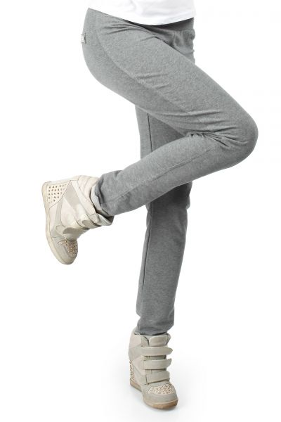Women Trousers on discount - MOE055 French terry knit, slim leg trousers - grey by MOE Fashion