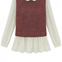 Buy All-matching Paneled Plaid Blouse with discount from OASAP.