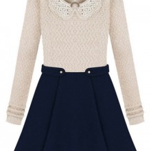 Buy Beaded Collar Paneled A-line Dress with discount from OASAP.