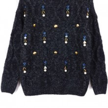 Buy Bejeweled Heather Cable Sweater with discount from OASAP.