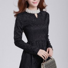 Buy Bejeweled Jacquard A-line Dress with discount from OASAP.