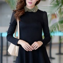 Buy Bejeweled Paneled A-line Dress with discount from OASAP.