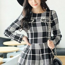 Buy Bejeweled Plaid A-line Dress with discount from OASAP.