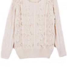 Buy Bowknot Heather Cable Sweater with discount from OASAP.
