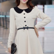 Buy Color Block Collar A-line Dress with discount from OASAP.