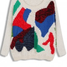 Buy Color Block Fuzzy Sweater with discount from OASAP.