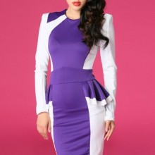 Buy Contras Paneled Peplum Dress with discount from OASAP.