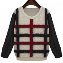 Buy Contrast Braided Cable Sweater with discount from OASAP.