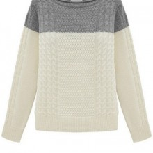 Buy Contrast Cable Sweater with discount from OASAP.