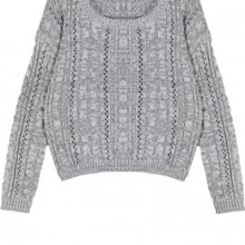 Buy Cutout Heather Cable Sweater with discount from OASAP.