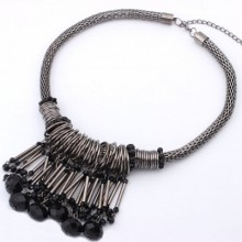 Buy Faux Stone Charm Bib Necklace with discount from OASAP.