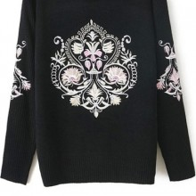 Buy Fireside Retro Embroidered Sweater with discount from OASAP.