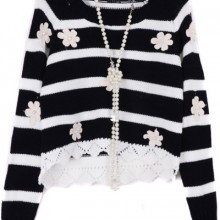 Buy Flower Appliqued Cropped Sweater with discount from OASAP.