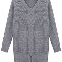 Buy Front Slit Cable Sweater with discount from OASAP.