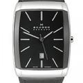 Buy Skagen Black & Silver Tone Swiss Rectangle Men's watch #984LSLBB with discount from Watchzone.com.