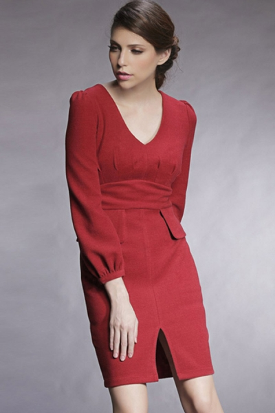 Buy V Neck Bodycon Dress with discount from OASAP.