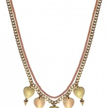 Buy Brass Necklace with Heart Charms JCH8 with discount from Carnet de Mode.