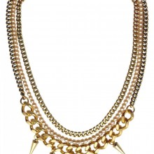 Buy Brass Necklace with a Heart Charm and Spikes JCH7 with discount from Carnet de Mode.